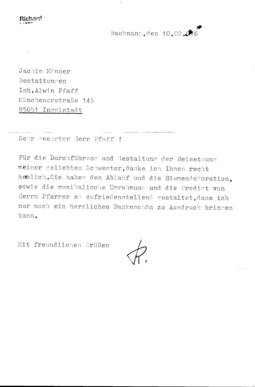 Referenzen vom Bestattungsinstitut Joachim Männer