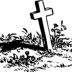 Skizze mit Kreuz auf einem Grab